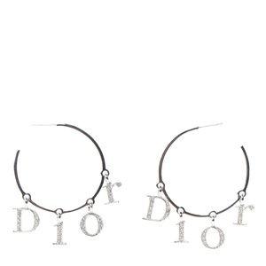 Christian Dior Crystal Logo Hoop Earrings